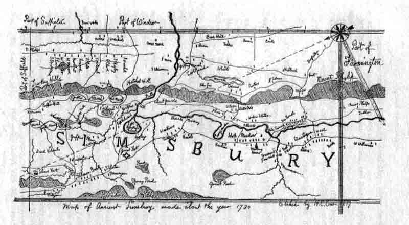 Early map of Simsbury, CT. Click for larger image